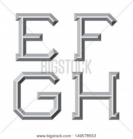 E F G H gray faceted letters. Prismatic retro font.