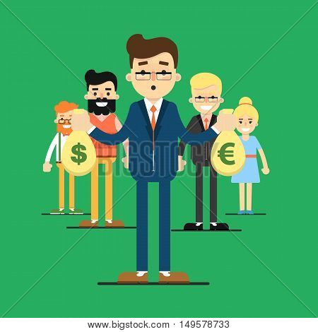 Group of smiling and young cartoon business people stand on green background. Team success vector illustration. Teamwork, collaboration and partnership. Business team. Win concept