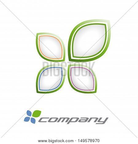 Vector sign quatrefoil environment concept, isolated in white