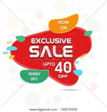 Exclusive Sale Flyer, Banner, Poster or Pamphlet with Discount Upto 40% Off, Vector illustration.