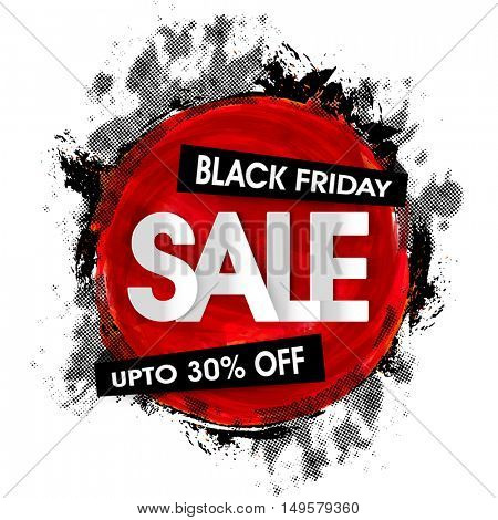 Black Friday Sale Poster, Super Offer Flyer, Creative Banner, Discount Upto 30% Off, Vector illutration with abstract design.