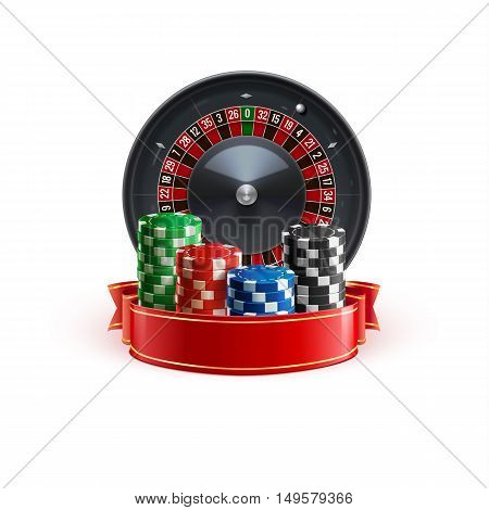 roulette isolated on white realistic casino object with red ribbon and casino chips