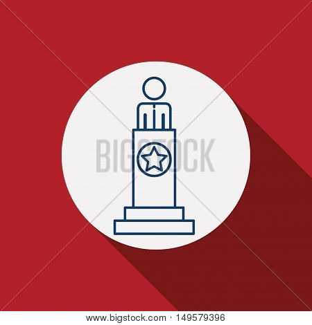 President icon. Vote election nation and government theme. Red background. Vector illustration