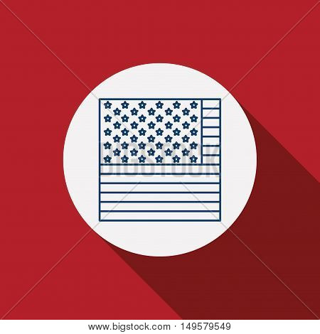 Usa flag inside circle icon. Patriotism nation and government theme. Silhouette design. Red background. Vector illustration