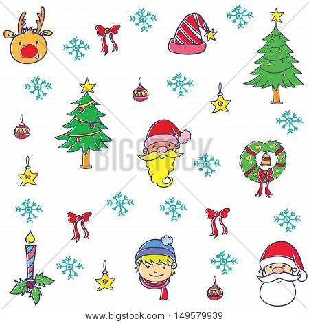 illustration of christmas set doodles collection stock