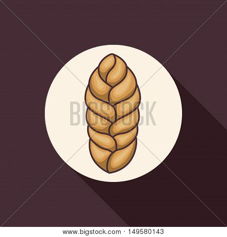Wheat ear icon. food grain and agriculture theme. Purple background. Vector illustration