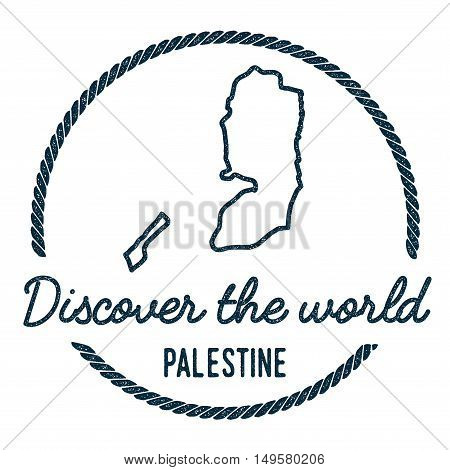 Palestine Map Outline. Vintage Discover The World Rubber Stamp With Palestine Map. Hipster Style Nau