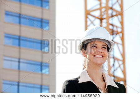 Businesswoman working on construction site