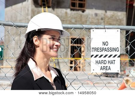 Hispanic woman on construction site