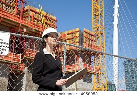 Woman working on construction site