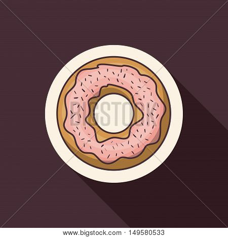 Donut icon. Bakery food daily and fresh theme. Purple background. Vector illustration