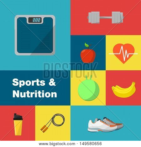 Sports and nutrition vector illustration icons set. Protein shaker, jump rope, sneakers, weigher, ball, fruit, sports bottle on color background. Exercise, diet, food, supplements, fitness symbols