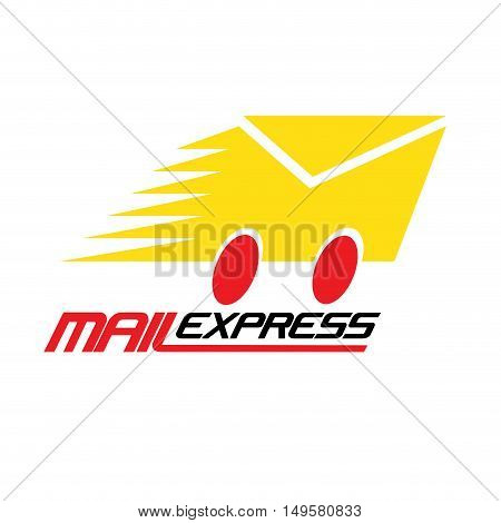 Vector sign Mail Express, isolated in white