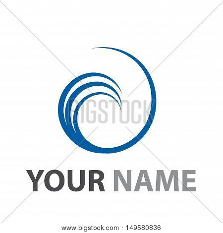 Vector sign Vortex sea wave, isolated in white