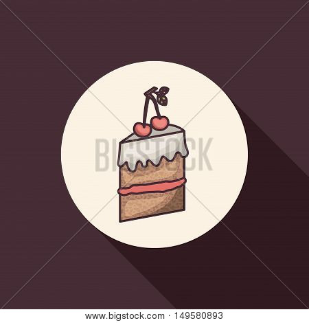 Cake icon. Bakery food daily and fresh theme. Purple background. Vector illustration