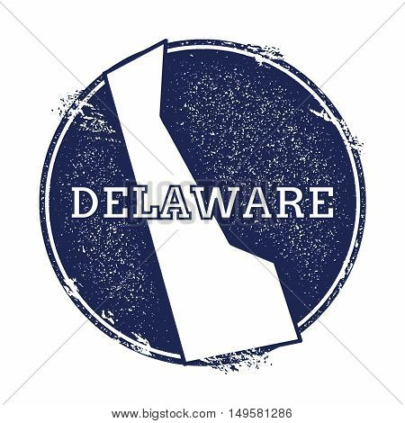 Delaware Vector Map. Grunge Rubber Stamp With The Name And Map Of Delaware, Vector Illustration. Can