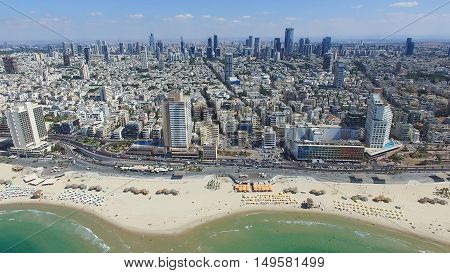 Tel Aviv skyline - Over the mediterranean sea, Aerial photo