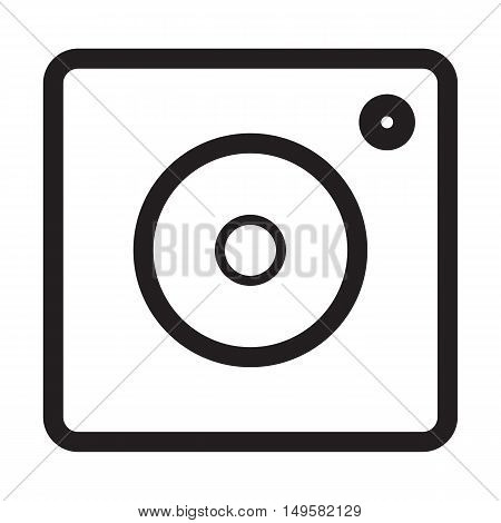 Hipster photo camera line icon on background
