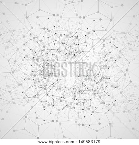 Abstract Cloud Computing and Network Connections Concept Design with Transparent Geometric Mesh - Illustration in Editable Vector Format
