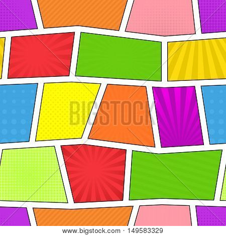 Colorful bright comic strip seamless pattern. Vector, eps10. Rays, lines, dots Vector eps 10