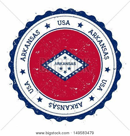 Arkansas Flag Badge. Grunge Rubber Stamp With Arkansas Flag. Vintage Travel Stamp With Circular Text