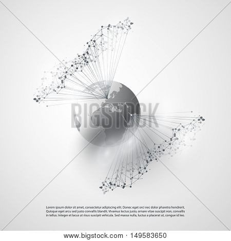 Abstract Cloud Computing and Global Network Connections Concept Design with Transparent Geometric Mesh, Wireframe  - Illustration in Editable Vector Format