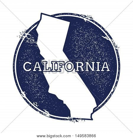 California Vector Map. Grunge Rubber Stamp With The Name And Map Of California, Vector Illustration.