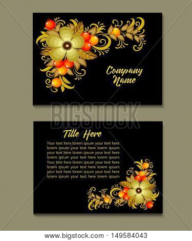 Flyer template with Russian Khokhloma ornament pattern. Greeting card design. Front page and back page. Vector.