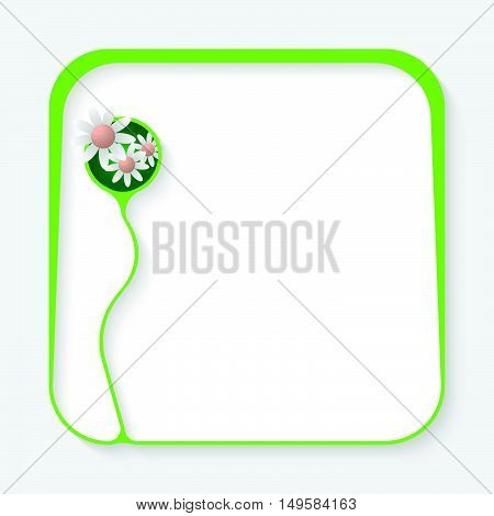 Green box for fill your text and flowers