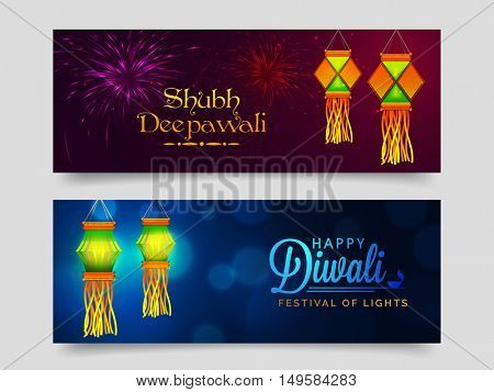 Website Header or Banner Set with colourful Diwali Lamps (Kandils) for Indian Festival of Lights Celebration.