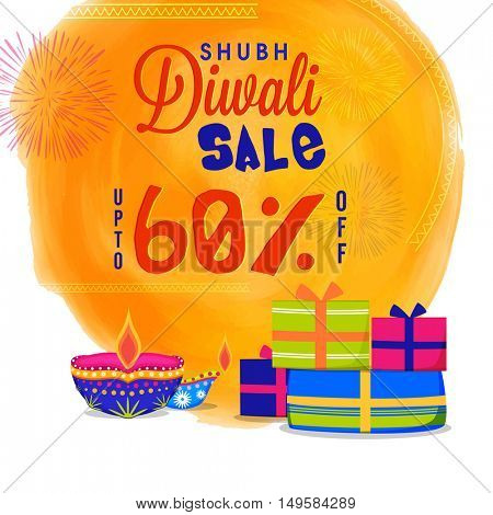 Shubh Diwali Sale Poster, Bumper Dhamaka Offer Flyer or Banner, Vector Illustration with Gifts and Lit Lamps for Indian Festival of Lights Celebration.