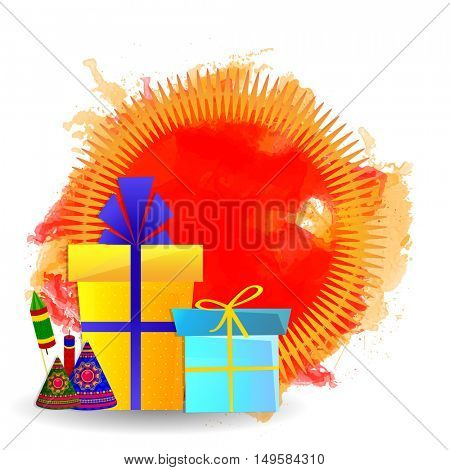 Colourful Gifts or Firecrackers decorated background, Greeting Card for Indian Festival of Lights, Happy Diwali Celebration.