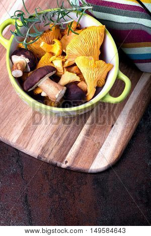 Bowl With Cantharellus. Yellow Chanterelle And Boletus