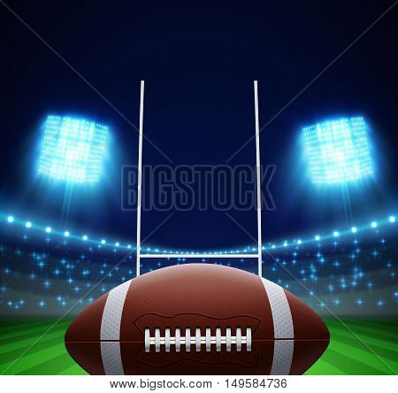 illustration of ball and american football field eps 10