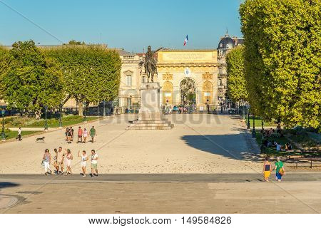 MONTPELLIER,FRANCE - AUGUST 26,2016 - Peyrou garden with Triumphal Arch in Montpellier. Montpellier is the capital of the Herault department and is the 8th largest city of France.