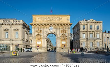 MONTPELLIER,FRANCE - AUGUST 26,2016 - Triumphal arch of Montpellier.Montpellier is the capital of the Herault department and is the 8th largest city of France.