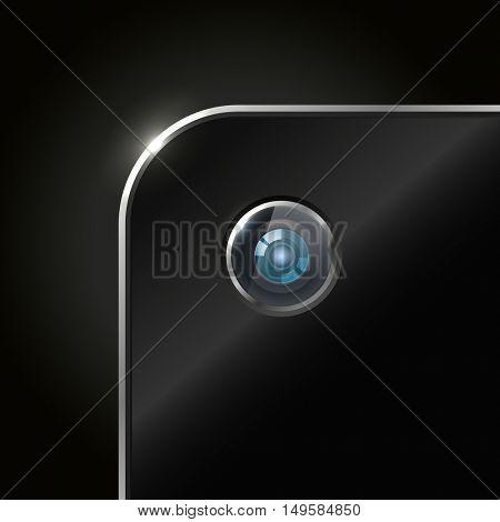 Modern smartphone camera closeup illustration