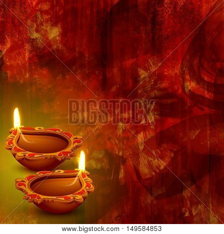 Illuminated Oil Lamps (Diya) on abstract background for Indian Festival of Lights, Happy Diwali celebration.