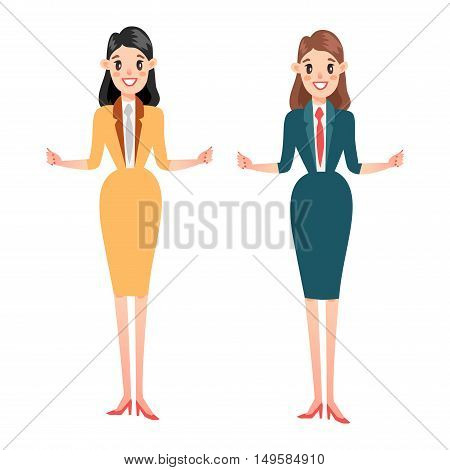 Vector business woman silhouette full length over white background. Business woman silhouette vector illustration. Business woman silhouette standing adult young girl.