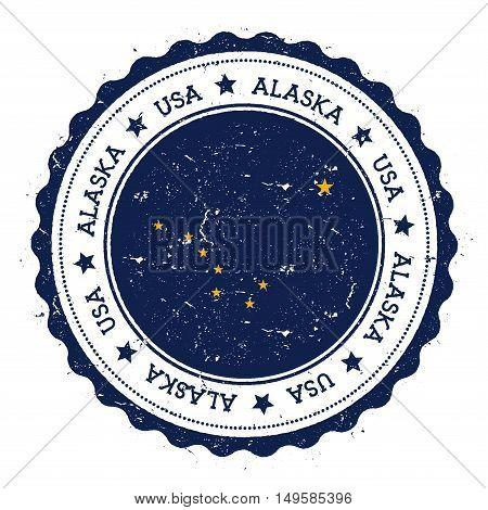 Alaska Flag Badge. Grunge Rubber Stamp With Alaska Flag. Vintage Travel Stamp With Circular Text, St