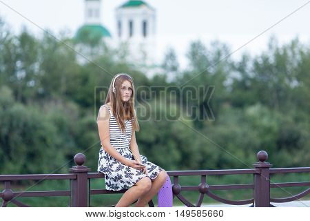 Beautiful And Fashion Young Woman Posing With Skateboard, Summer, Urban,
