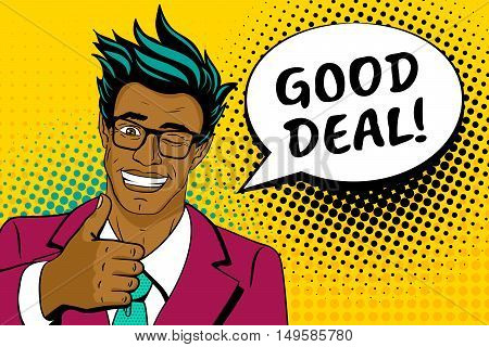 Wow pop art face. Happy young handsome surprised african man in glasses and suit shows thumb up smiling speech bubble and good deal lettering. Vector colorful cartoon hand-drawn background in pop art retro comic style.