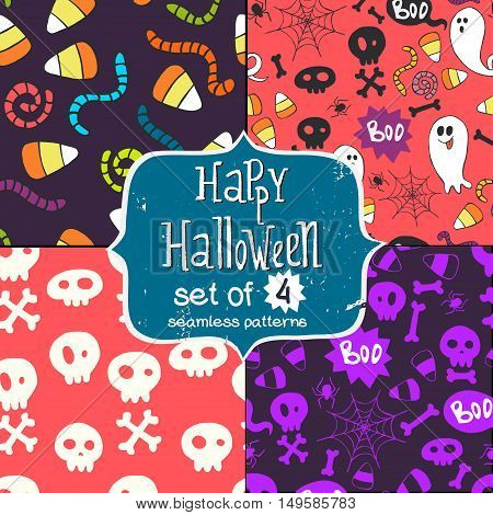 Set of four seamless patterns with hand drawn halloween doodles. Colorful childish tiling background with cartoon spooky ghosts skulls bones spider and candy corns.