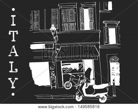 Vector illustration of the street drawn in sketch style on chalkboard background. Quiet street with a motorbike little shop and windows with shutters in an old european town. Parma Italy.