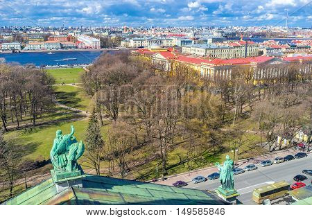 The Alexander Garden and Admiralty building from the roof of St Isaac's Cathedral in St Petersburg Russia.