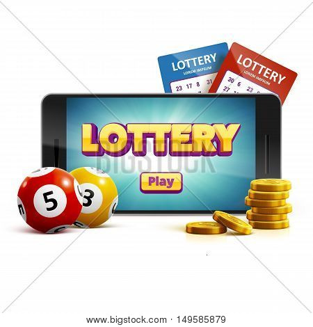 vector illustration of lottery 3d icon balls ticket phone isolated on white vector illustration