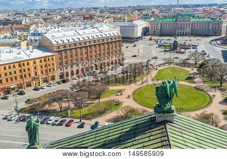 Discover the city center from the rooftop of St Isaac's Cathedral the perfect viewpoint decorated with bronze sculptures St Petersburg Russia.