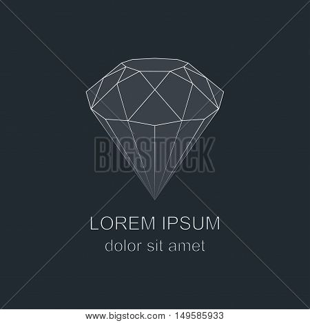 Diamond icon Brilliant gemstone sign. Linear outline vector symbol.