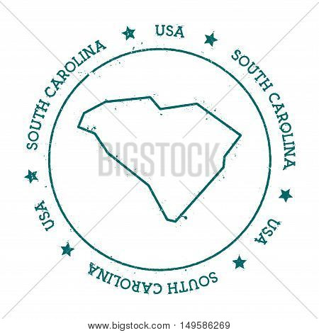 South Carolina Vector Map. Retro Vintage Insignia With Us State Map. Distressed Visa Stamp With Sout