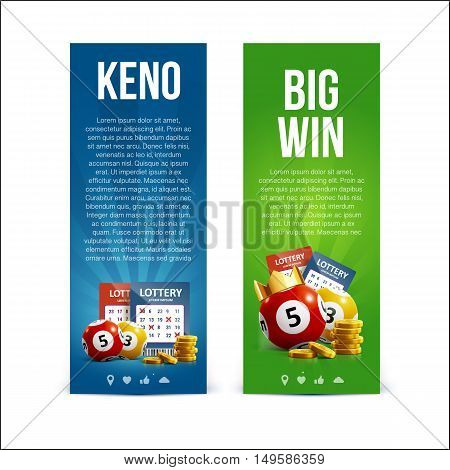 vector illustration of lottery banners with realistic icons balls coins lottery ticket and place for text isolated on white